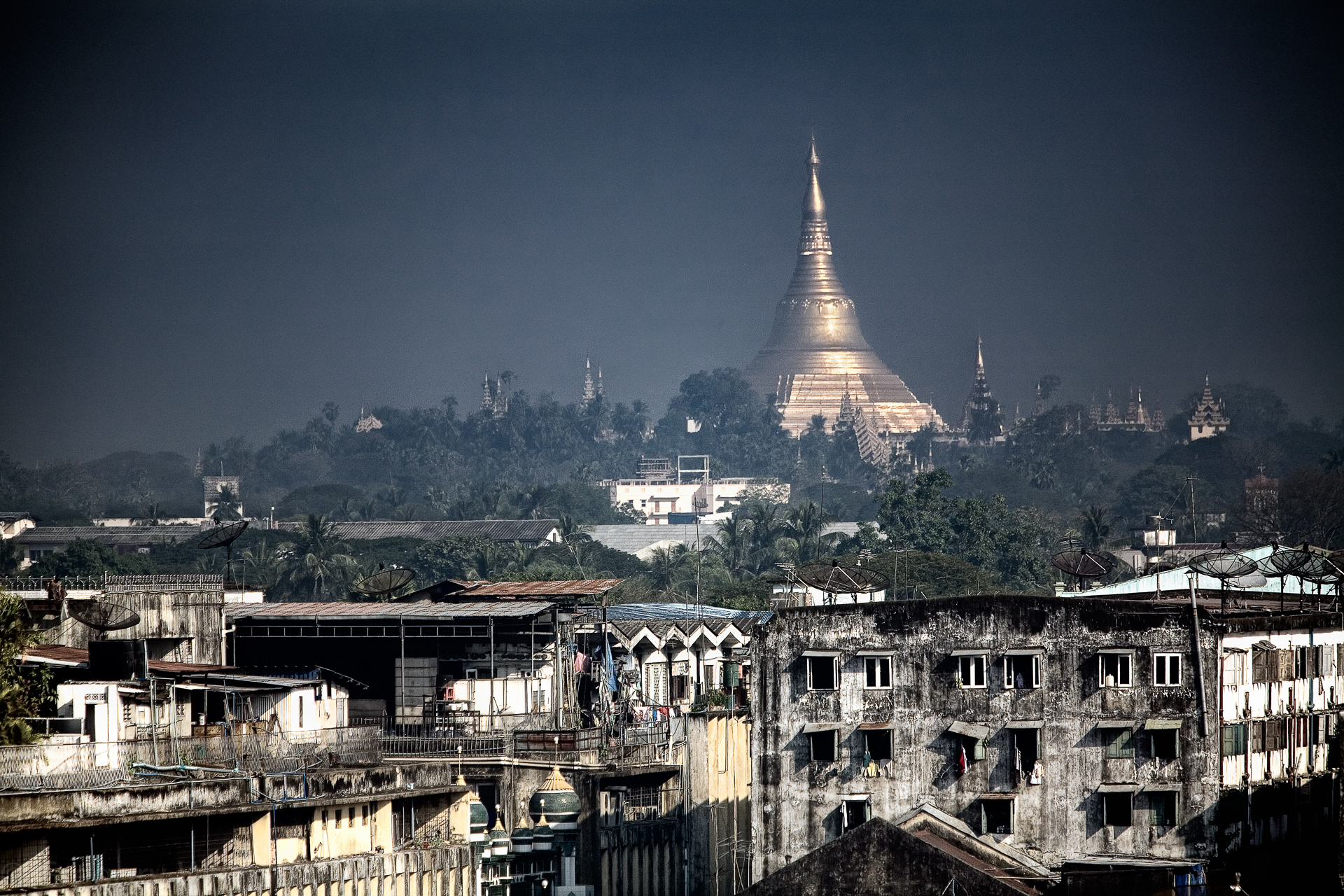 Yangon, Burma.  The former capital.  AKA Rangoon.