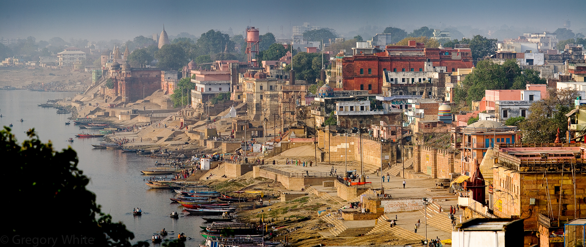 The holy city of Varanasi sits on the shores of the Ganges river in India.