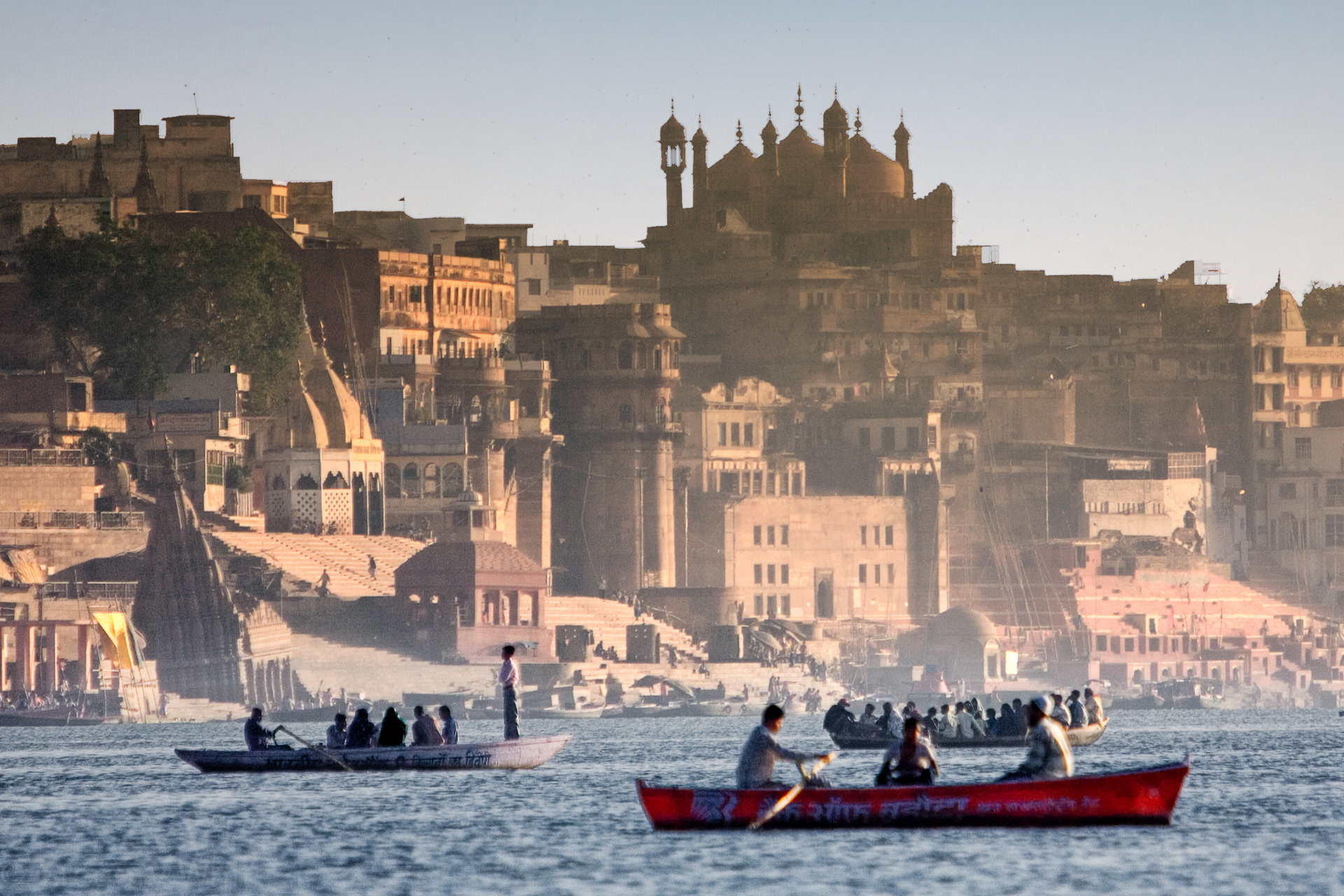 Viewing Varanasi from a boat on the Ganges reveals centuries of palaces and temples along the shores.