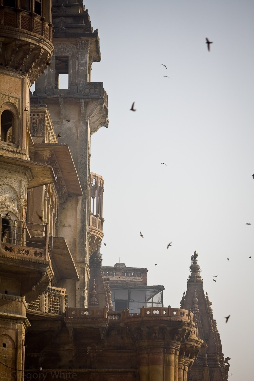 The palaces along the shores of the Ganges in Varanasi.