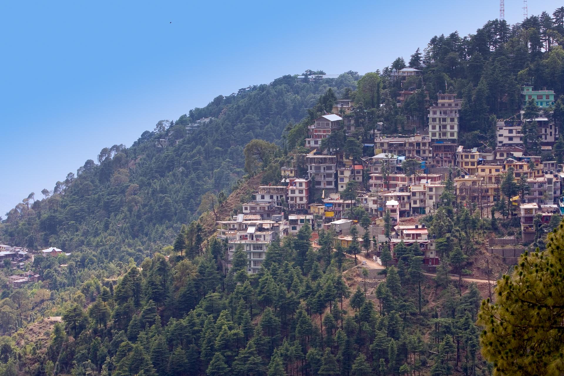 Shimla sits on top of a beautiful mountain ridge.