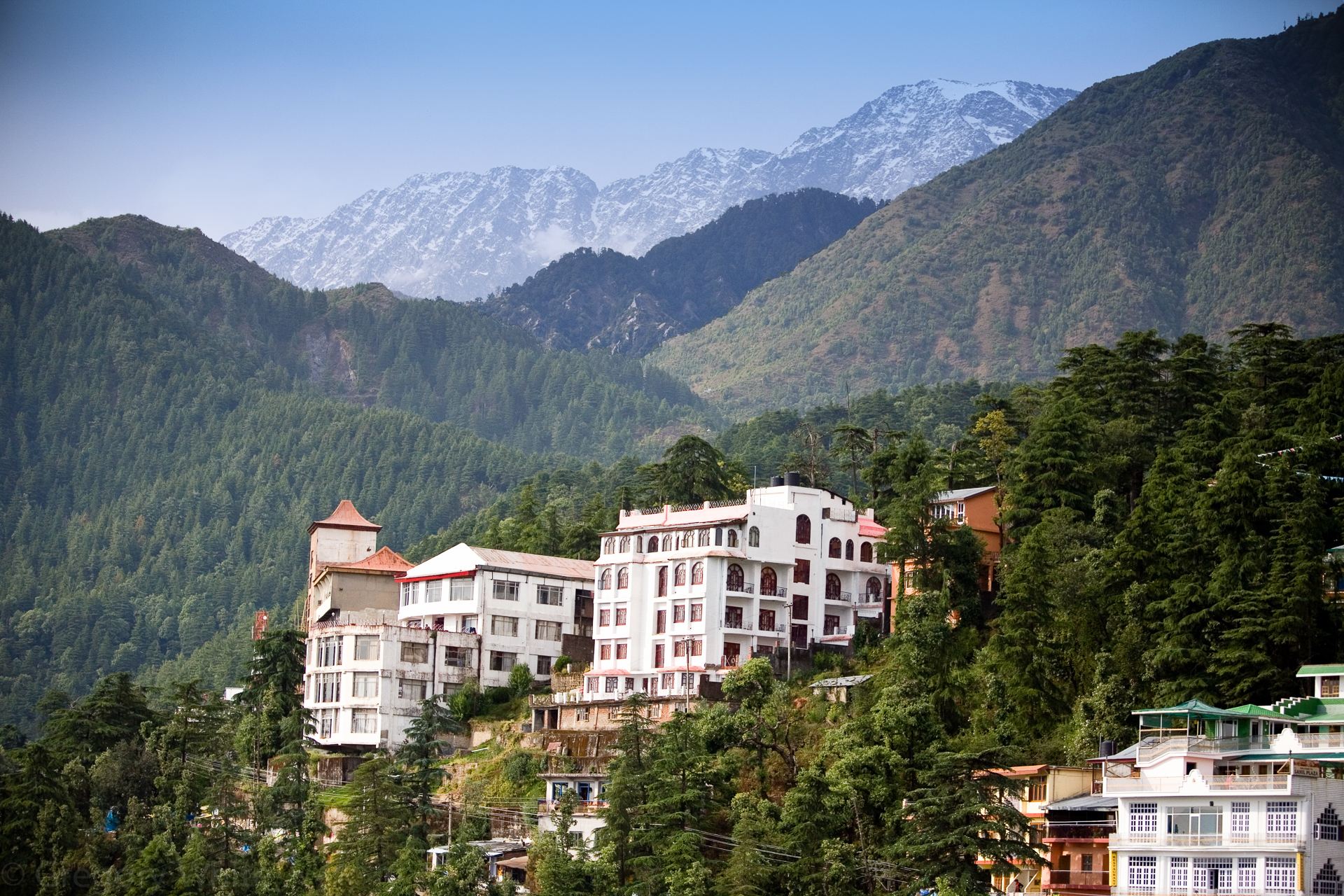 Dharmasala sits in the foothills of the Himalayas and is home to the Dali Lama.