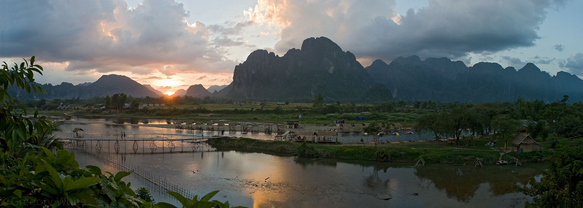 Sunset in Vang Vien, Laos.