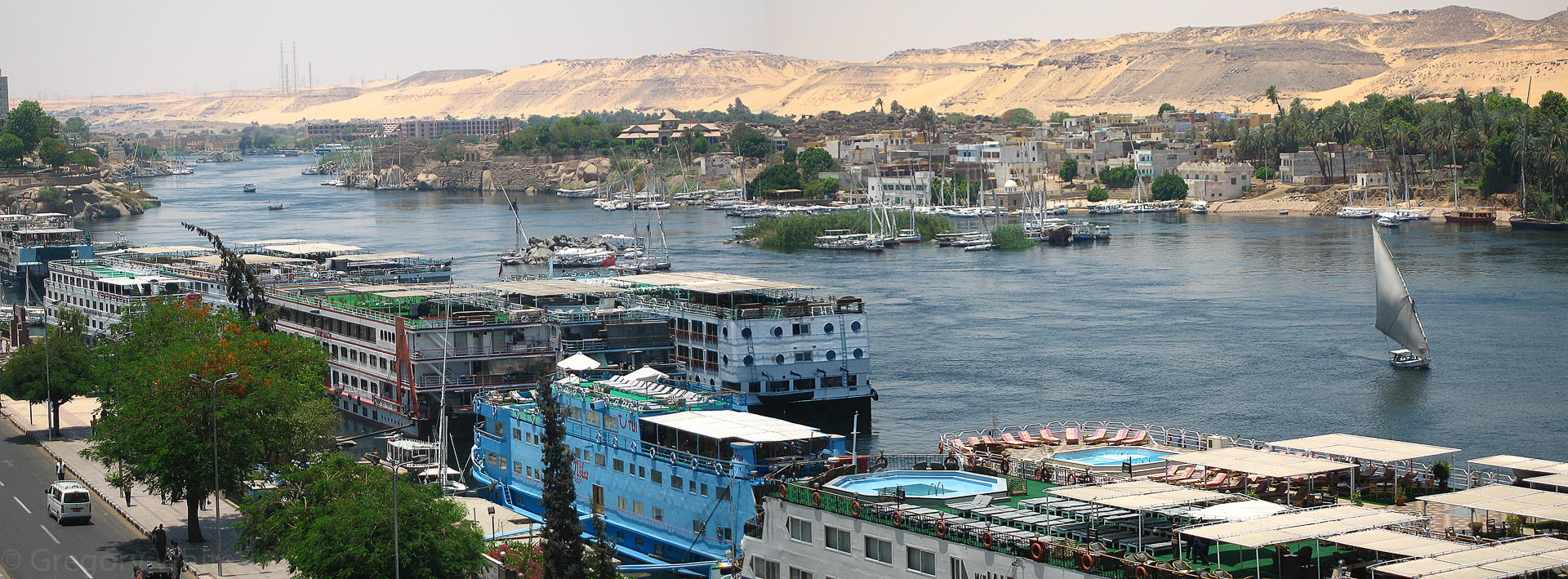 The great Nile winds through Aswan.