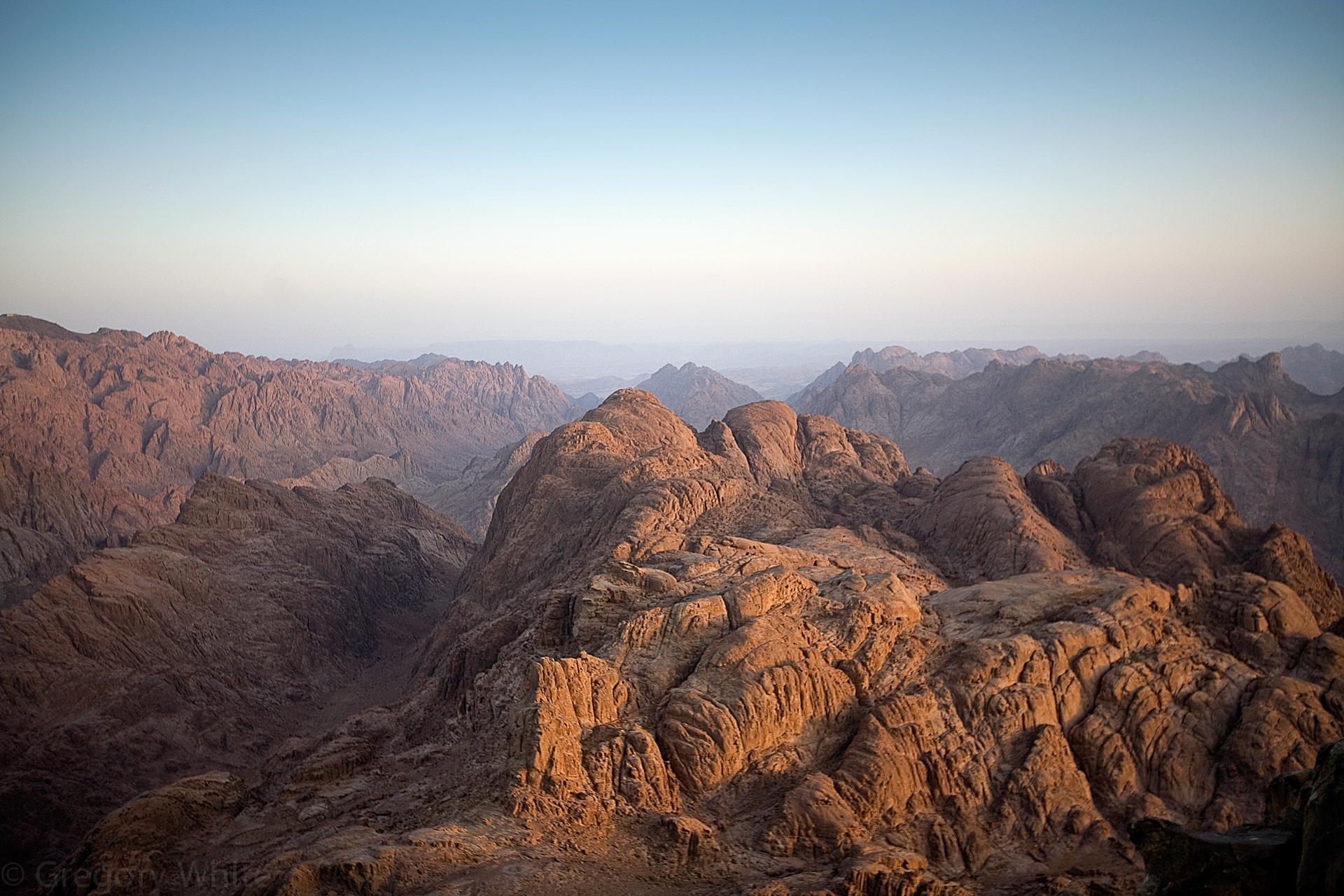 The view from the top of Mt. Sinai at sunrise.   Yes, THAT Mt Sinai.