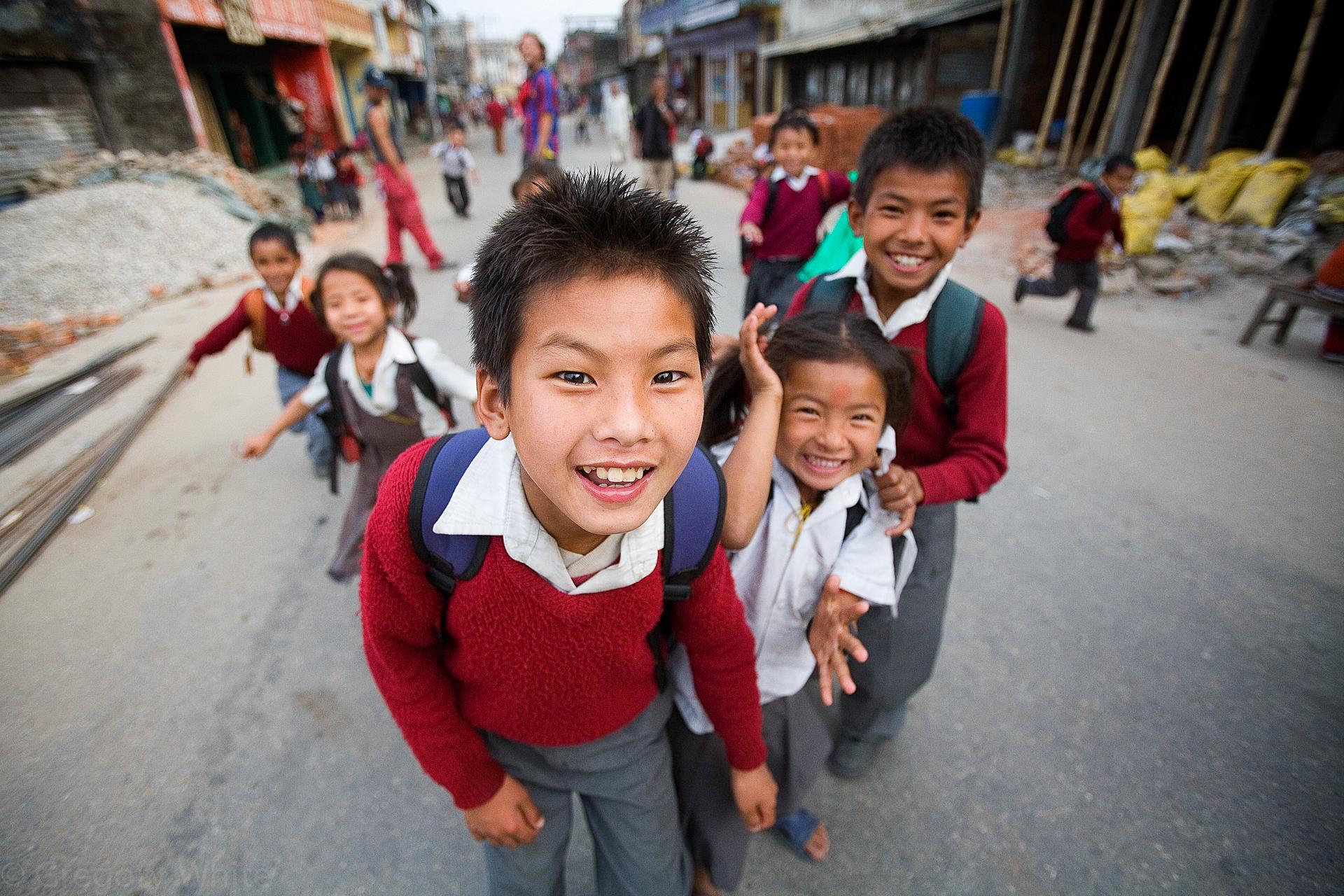 Curious schoolchildren.  Besisahar, Nepal.