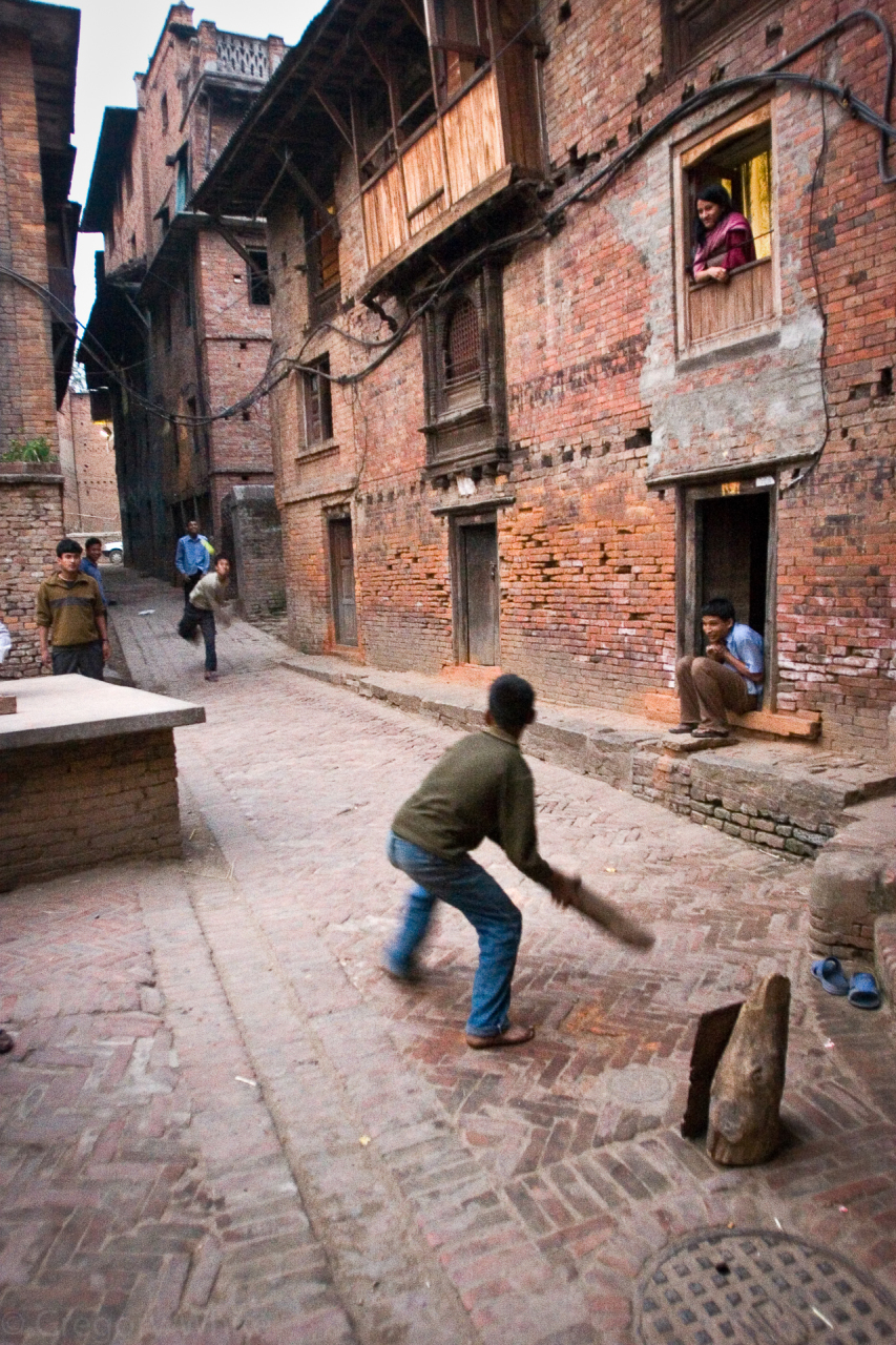 Back alley cricket in Bhaktapur.