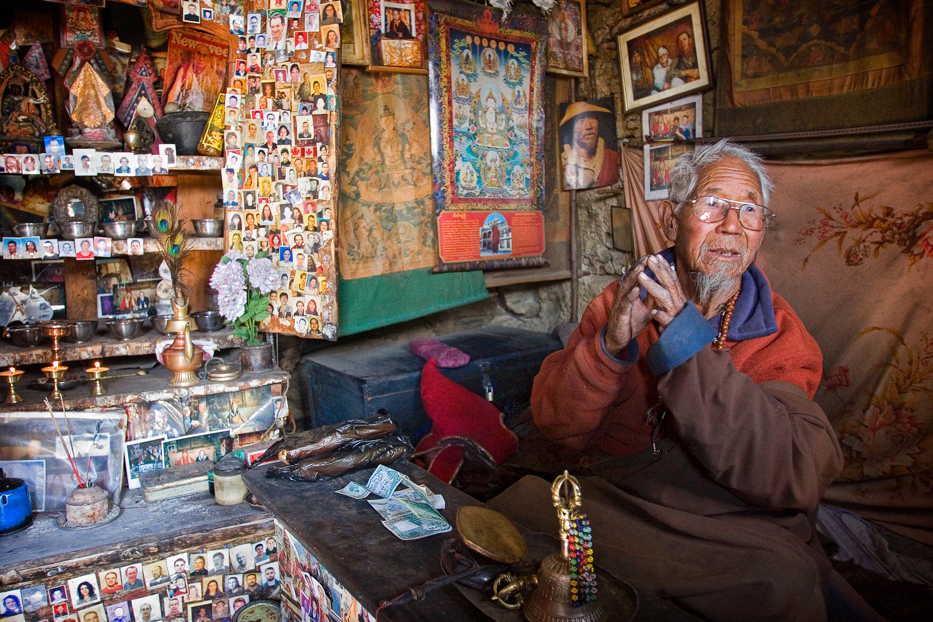 Lama gives a blessing for safe travel.  Menang, Nepal.