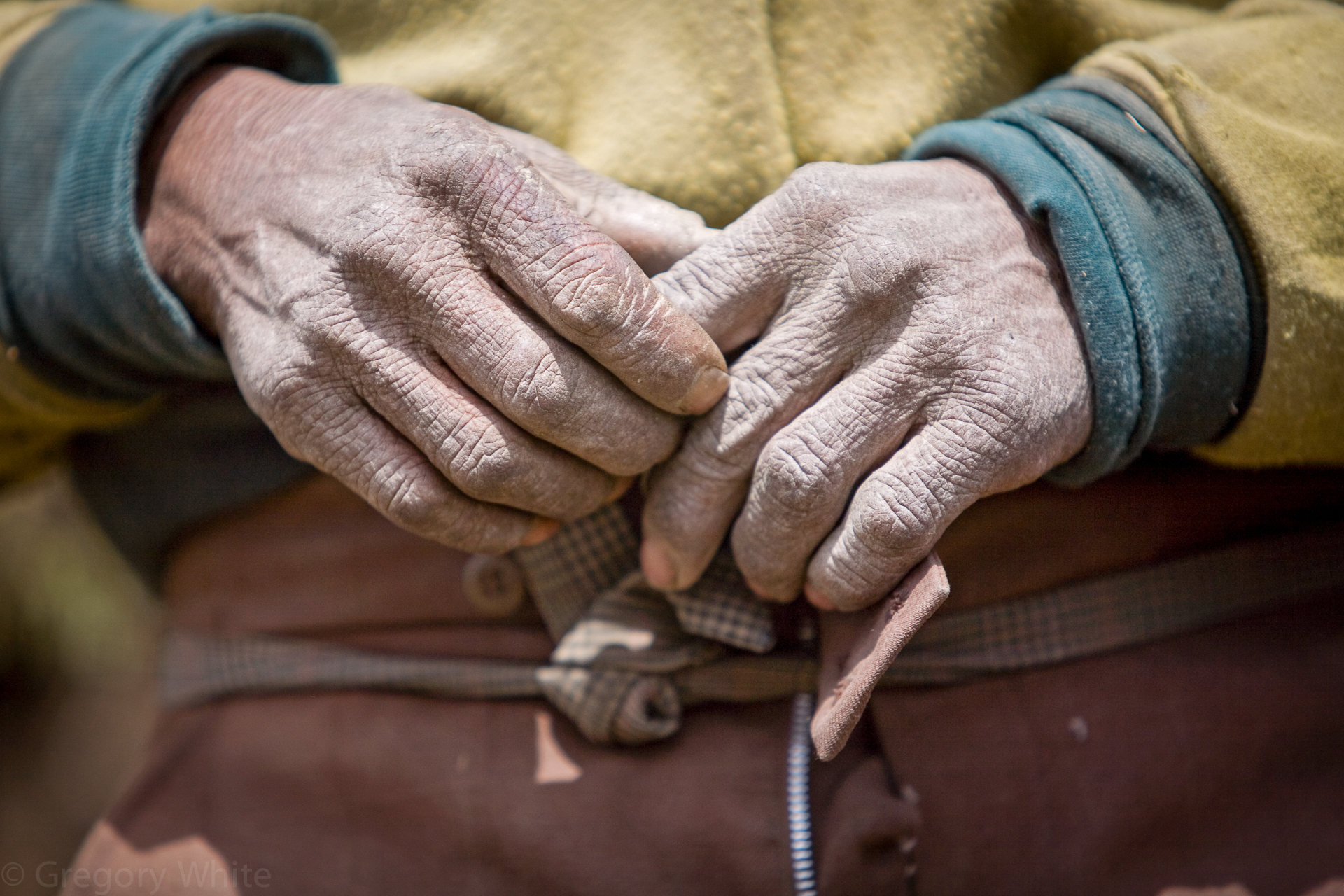 Weathered hands of a Nepali mountain villager.